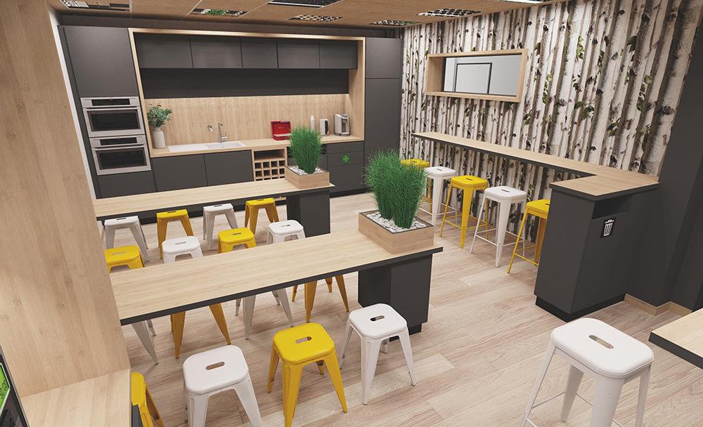 Rénovation salle de repos vue 3d