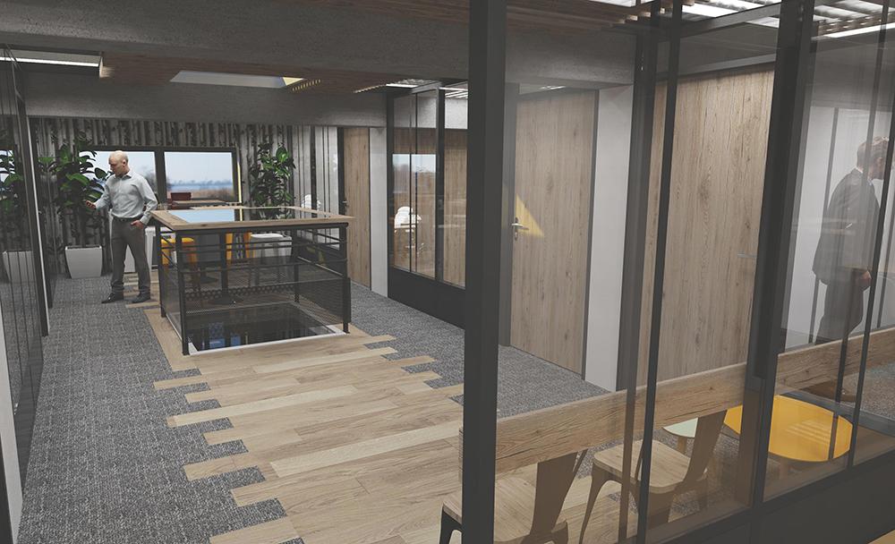 Rénovation d'un siège social vue 3d